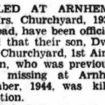 News of Sydney Churchyard's death